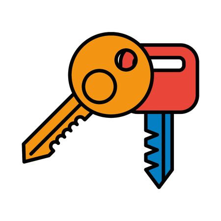 key house doors isolated icons vector illustration design
