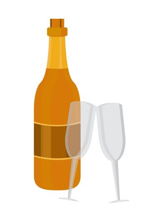 champagne bottle and cups drink isolated icon vector illustration design