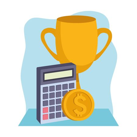 trophy cup with calculator and money coin over blue and white background, colorful design , vector illustration