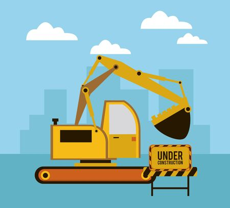 under construction scene with excavator vector illustration design