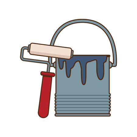 paint roller and bucket icon over white background, vector illustration Ilustrace