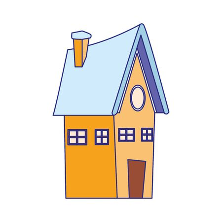 cartoon house icon over white background, vector illustration