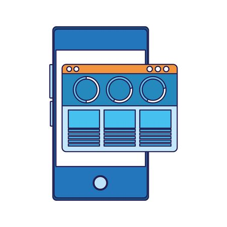 smartphone with open window over white background, vector illustration Иллюстрация