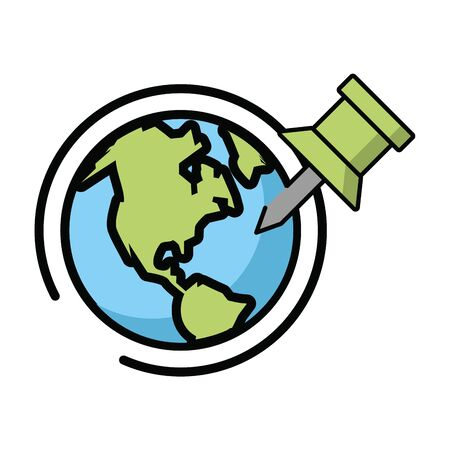 world planet earth with pin vector illustration design 向量圖像
