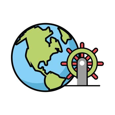 helm boat with world planet vector illustration design 向量圖像