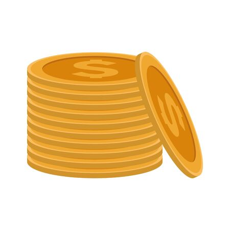 stack of coins icon over white background, vector illustration 向量圖像