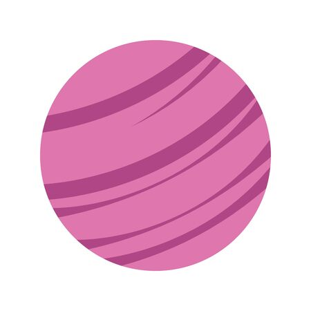 Pink space planet icon over white background, vector illustration