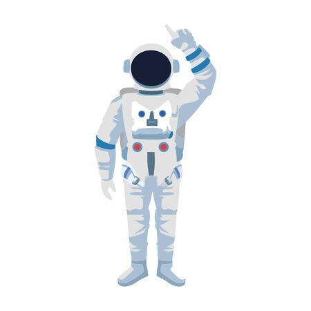 cartoon astronaut standing icon over white background, vector illustration 向量圖像