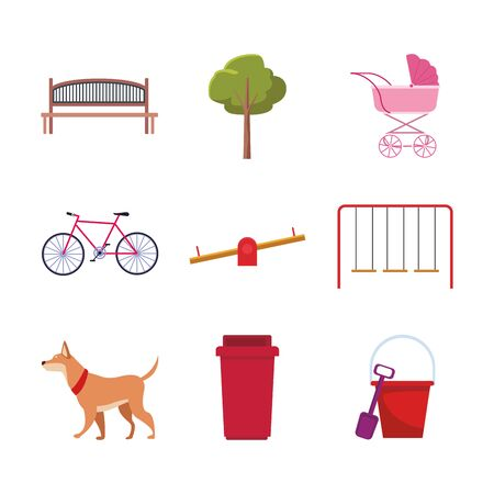 set of park objects and dog over white background, vector illustration Stock Vector - 134851700