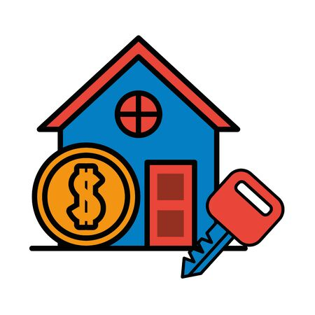 house front facade with coin dollar money vector illustration design Ilustração