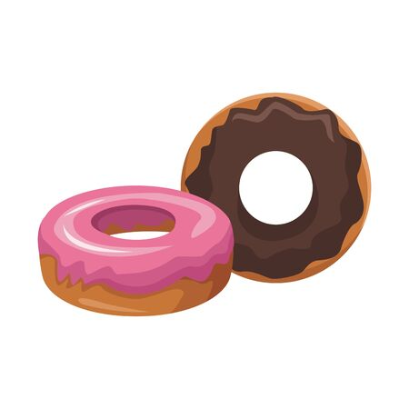 sweet donuts icon over white background, vector illustration