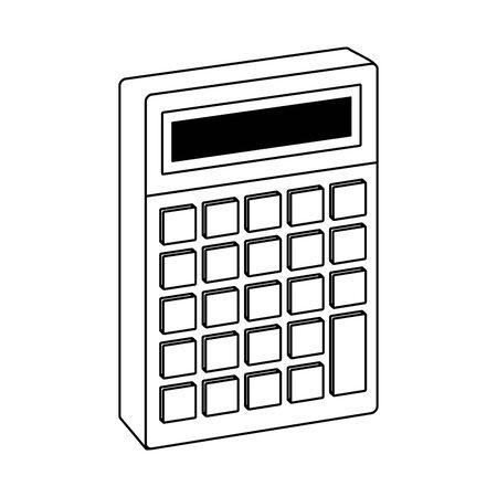 calculator device icon over white background, vector illustration
