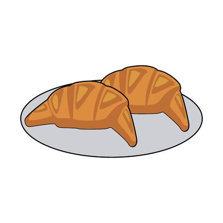 plate with croissants icon over white background, vector illustration
