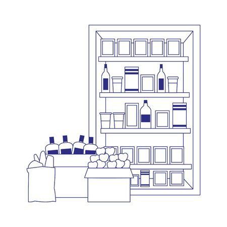 boxes supermarket shelves with bottles and groceries products over white background, vector illustration