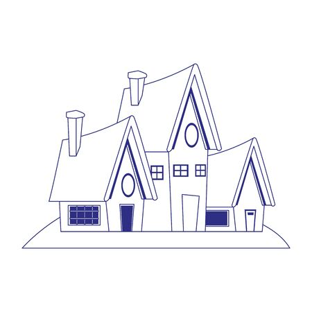 cartoon houses icon over white background, vector illustration