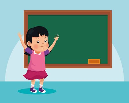 cartoon girl in front of school chalkboard over blue background, colorful design , vector illustration