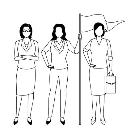 executive business women with success flag cartoon vector illustration graphic design