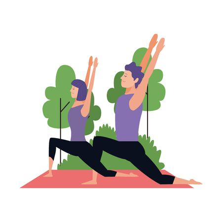 young couple practicing yoga poses at outdoors over white background, colorful design , vector illustration