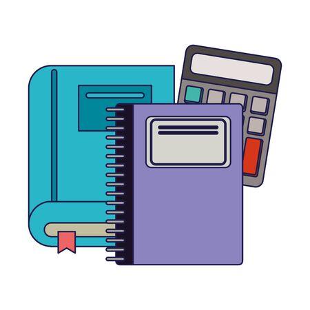 School utensils and supplies book notebook and calculator Design