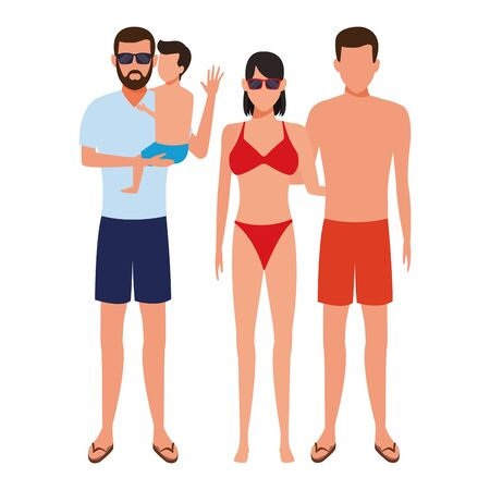 family avatar cartoon character wearing summer clothes and sunglasses vector illustration graphic design Foto de archivo - 134860159