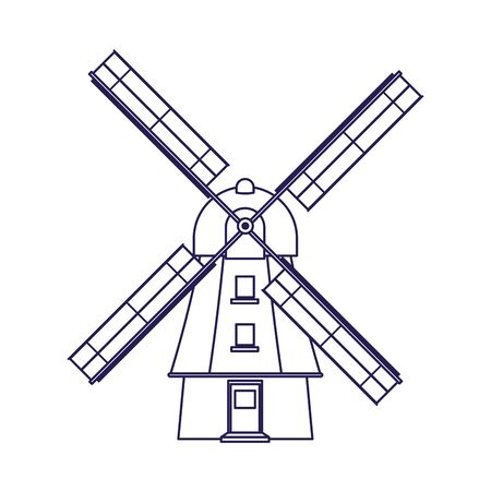 Windmill icon over white background, vector illustration