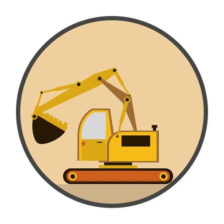 Machine de construction pelle véhicule icône illustration vectorielle conception Vecteurs