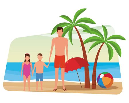 summer vacation man at beach with children cartoon vector illustration graphic design