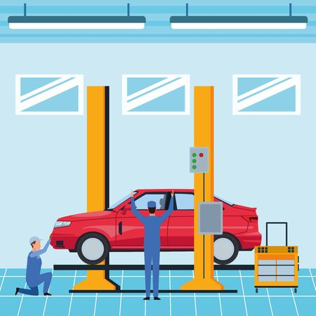 industry car manufacturing assembly car cartoon vector illustration graphic design Ilustracja