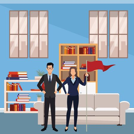 executive business coworkers with success flag cartoon  inside apartment scenery vector illustration graphic design Illustration