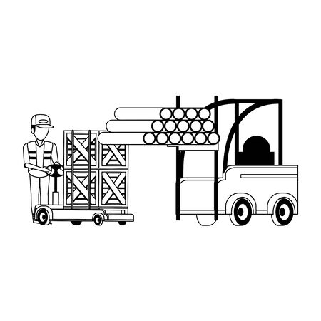 Warehouse worker pushing handtruck with boxes and forklift with pvc pipes vector illustration Stock Illustratie