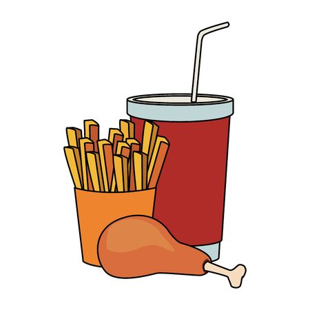 french fries with chicken thigh and drink cup over white background, vector illustration