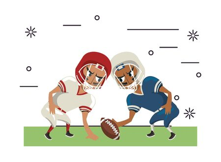 american football players playing characters vector illustration design Banque d'images - 134860974
