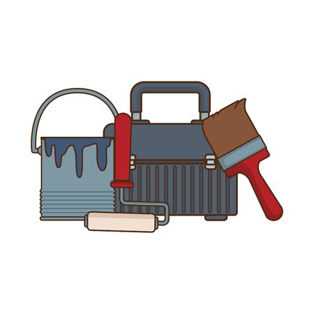 tools box with paint bucket and tools over white background, vector illustration