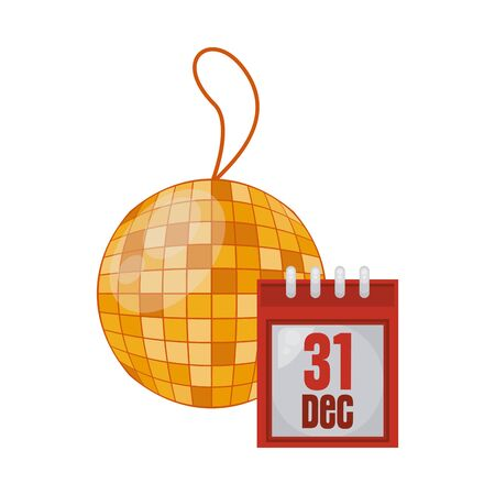 happy new year calendar with mirrors ball party vector illustration design