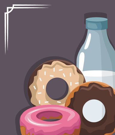 sweet donuts and milk bottle over gray background, colorful design, vector illustration Stock Illustratie