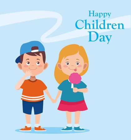 Happy children day design with happy girl and woman over blue background, vector illustration