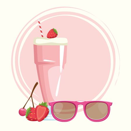 strawberry milkshake and sunglasses over pink and white background, colorful design , vector illustration