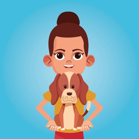 Girl smiling with pet cartoon blue background vector illustration graphic design