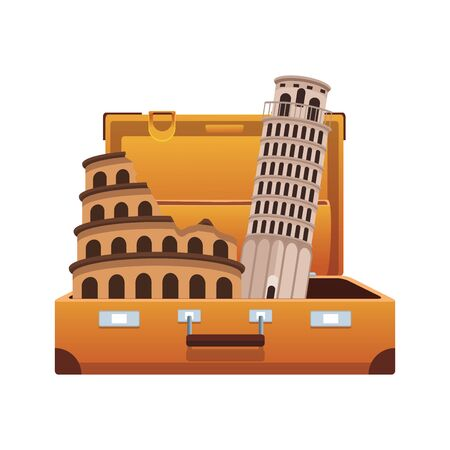 travel suitcase with italian landmarks over white background, vector illustration 일러스트