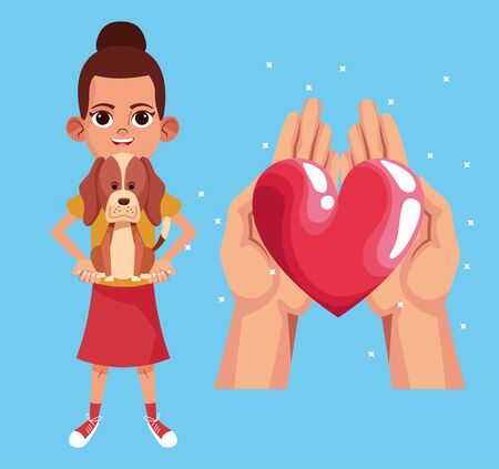 Kid donation charity cartoon hands with heart and girl with pet vector illustration graphic design Reklamní fotografie - 134861523