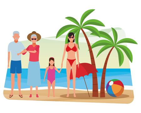 summer vacation people family at beach cartoon vector illustration graphic design Ilustracja