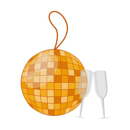 mirrors ball party hanging and champagne cups vector illustration design