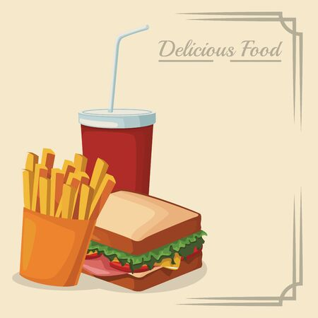 sandwich with french fries and soft drink cup over white background, colorful design , vector illustration