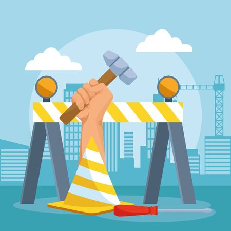 road barrier and cone with hand holding a hammer over under construction scenery background, colorful design , vector illustration 일러스트