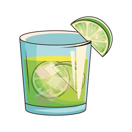 lemon cocktail icon over white background, vector illustration