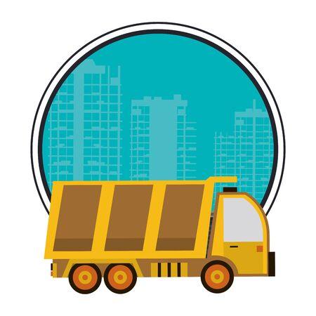 under construction scene with dump truck vector illustration design