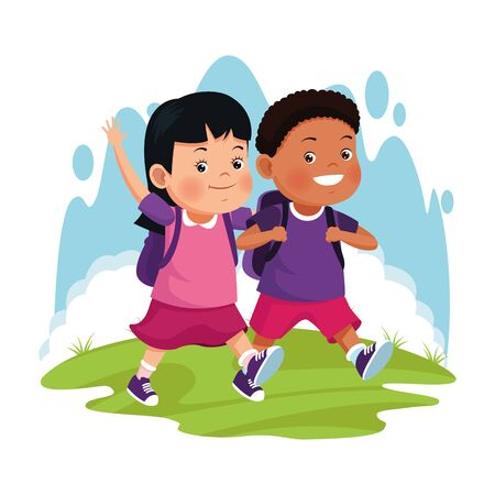 cartoon happy kids with school backpacks over white background, colorful design , vector illustration Ilustracja