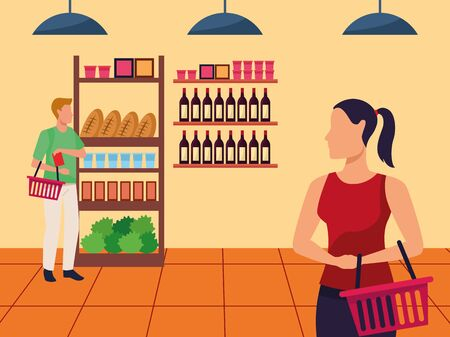 avatar man and woman in the supermarket aisle, colorful design , vector illustration