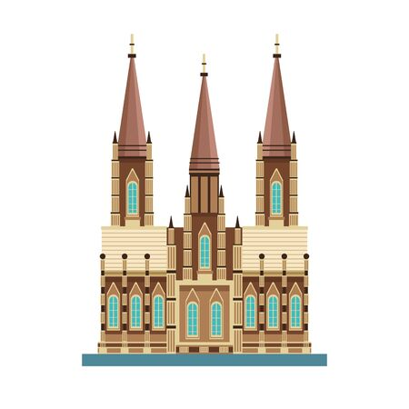 church of the holy family icon over white background, vector illustration