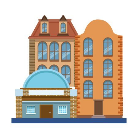 vintage city buildings icon over white background, vector illustration